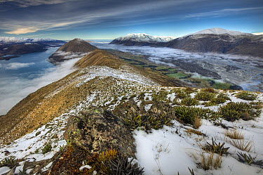 Clouds covering Lake Coleridge and Rakaia River from Mount Oakden with Mount Hutt on right, Canterbury, New Zealand  -  Colin Monteath/ Hedgehog House