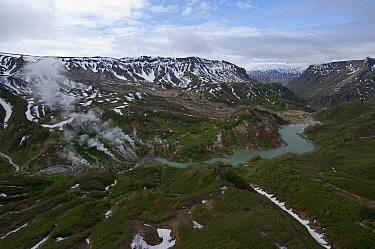 Steam emitted from geysers, Geyser River, Valley of Geysers, Kamchatka, Russia  -  Sergey Gorshkov