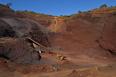 Red gravel mine used for construction and road building, highlands of Santa Cruz Island, Galapagos Islands, Ecuador  -  Pete Oxford