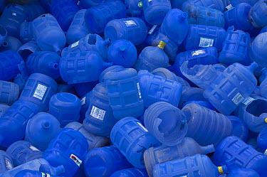 Plastic bottles in recycling plant, Santa Cruz Island, Galapagos Islands, Ecuador  -  Pete Oxford
