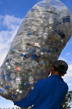Plastic bottles being recycled, Santa Cruz Island, Galapagos Islands, Ecuador  -  Pete Oxford