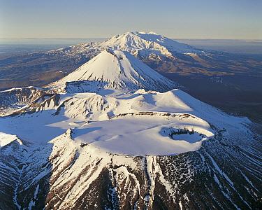Mount Tongariro, Mount Ngauruhoe and Mount Ruapehu, Tongariro National Park, New Zealand  -  Rob Brown/ Hedgehog House