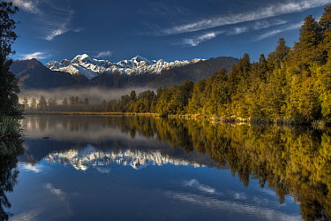 Lake Matheson reflection, Mount Tasman and Mount Cook, near Fox Glacier, Westland National Park, New Zealand  -  Colin Monteath/ Hedgehog House