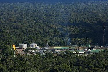 Oil camp in rainforest within Yasuni National Park, Amazon, Ecuador  -  Pete Oxford
