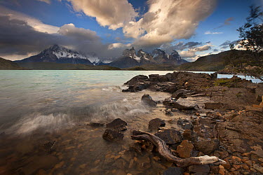 Evening light and clouds at Lago Pehoe with Cuernos del Paine above, Torres Del Paine National Park, Patagonia, Chile  -  Colin Monteath/ Hedgehog House