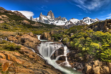 Waterfall below Mount Fitzroy, Los Glaciares National Park, Patagonia, Argentina  -  Colin Monteath/ Hedgehog House