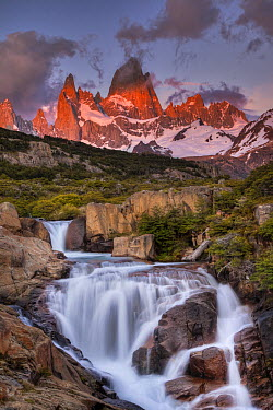 Waterfall at dawn below Mount Fitzroy, Los Glaciares National Park, Patagonia, Argentina  -  Colin Monteath/ Hedgehog House