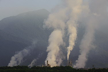 Industrial pollution near atlantic rainforest, Sao Paulo, Brazil  -  Luciano Candisani