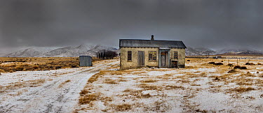 Historic farm after winter snowfall, central Otago, New Zealand  -  Colin Monteath/ Hedgehog House