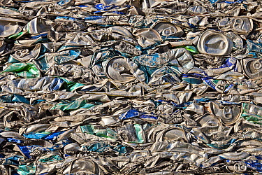 Soft drink cans crushed at recycling plant, Kaikoura, North Canterbury, New Zealand  -  Colin Monteath/ Hedgehog House