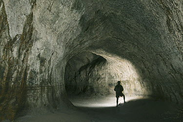 Lava tube and person in Ape Cave, Mount St Helens Volcano National Monument, Washington  -  Kevin Schafer