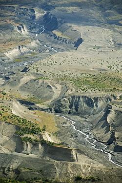 Erosion through ash deposits from eruption, Mount St Helens Volcanic National Monument, Washington  -  Kevin Schafer