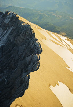 Aerial view of crater rim on south slope of Mount St Helens, Mount St Helens National Volcanic Monument, Washington  -  Kevin Schafer