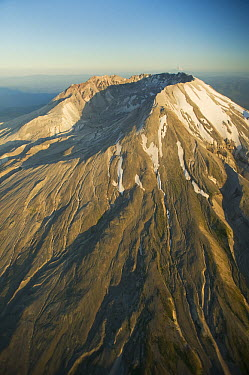 Aerial view of Mount St Helens crater with Mount Hood behind, Mount St Helens National Volcanic Monument, Washington  -  Kevin Schafer