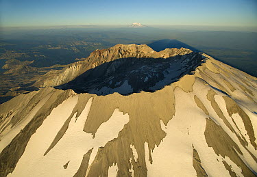 Aerial view of Mount St Helens crater with Mount Adams behind, Mount St Helens National Volcanic Monument, Washington  -  Kevin Schafer