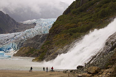 Nugget Falls and Mendenhall Glacier in background with tourists, Tongass National Forest, Juneau, Alaska  -  Matthias Breiter