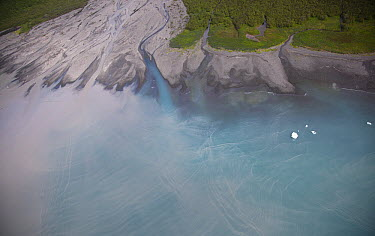 Calahonda Creek and alluvial fan with ice bergs from the Hubbard Glacier in Disenchantment Bay, Alaska  -  Matthias Breiter