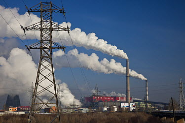 Coal fired power station provides electricity for capital city, causes heavy air pollution during winter due to inversion layer, Ulan Baatar, Mongolia  -  Colin Monteath/ Hedgehog House