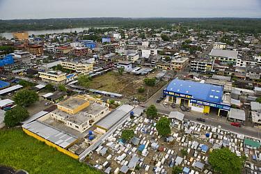 Town of Coca with Yasuni National Park across Napo River, Amazon, Ecuador  -  Pete Oxford