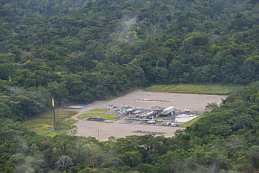 Oil installation in dense rainforest, Yasuni National Park, Amazon, Ecuador  -  Pete Oxford
