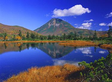 Lake and Mount Rausudake, Shiretoko National Park, Hokkaido, Japan  -  Masami Goto/ Nature Production