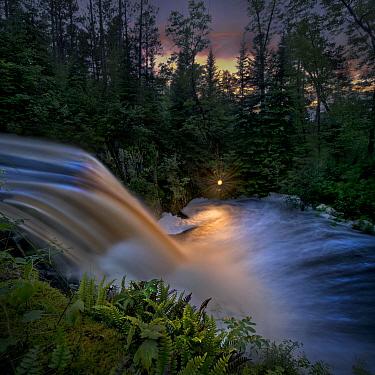 Honeymoon Falls at summer solstice, Judd Creek, Northwoods, Minnesota  -  Jim Brandenburg