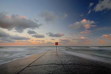 Sign at the end of boat launch, France  -  Julien Boisard/ Biosphoto