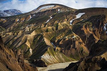 Mount Skalli from Mount Blahnukur, Landmannalaugar, Fjallabak Nature Reserve, South Iceland, Iceland  -  Rob Brown/ Hedgehog House