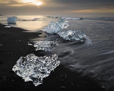 Ice from the Vatnajokull Glacier on a volcanic black sand beach, Vatnajokull National Park, Iceland  -  Rob Brown/ Hedgehog House