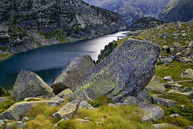 Granite boulders and Estany Negre Lake, Aiguestortes I Estany de Sant Maurici National Park, Pyrenees, Catalonia, Spain  -  Albert Lleal