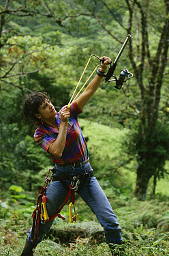 Dr. Nalini Nadkarni preparing to climb tree, Monteverde Cloud Forest Reserve, Costa Rica  -  Michael & Patricia Fogden