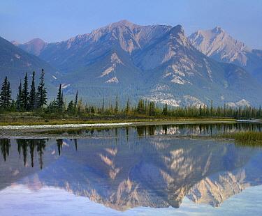 Jasper Lake and Esplanade Mountain, Jasper National Park, Alberta, Canada  -  Tim Fitzharris