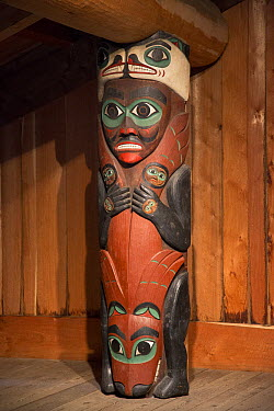 Carved post supports house and symbolizes the exploits of Duk-toothl, Totem Bight State Historical Park, Ketchikan, Alaska  -  Matthias Breiter