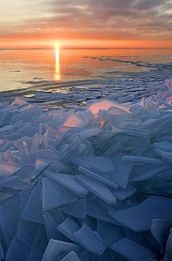 Landscape of geometric drift ice at sunset, Warder, Netherlands  -  Wendy Kreeftenberg/ Buiten-beeld