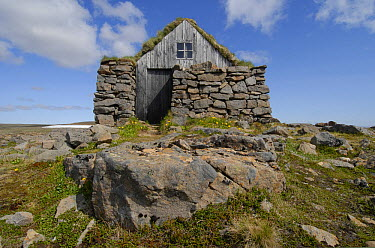 Historic Viking house with live roof, West Fjords, Iceland  -  Ronald Messemaker/ Buiten-beeld