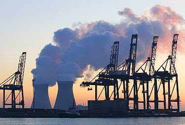 Nuclear power plant with ship loading cranes, Antwerp, Belgium  -  Wouter Pattyn/ Buiten-beeld