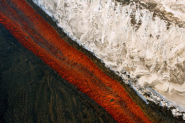 Lava flow and snow, Tolbachik Volcano, Kamchatka, Russia  -  Sergey Gorshkov