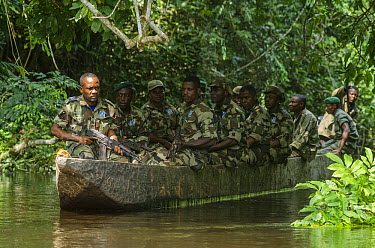Eco Guards on patrol, Odzala-Kokoua National Park, Democratic Republic of the Congo  -  Pete Oxford