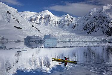 Kayaker, Paradise Bay, Antarctic Peninsula, Antarctica  -  Matthias Breiter