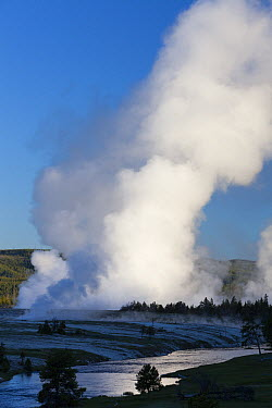 Steam rising from Excelsior Geyser Crater, Firehole River, Midway Geyser Basin, Yellowstone National Park, Wyoming  -  Duncan Usher
