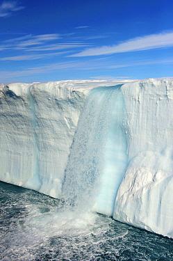 Waterfall from the icecap on Nordaustlandet, the longest glacier front in the Arctic, Nordaustlandet, Svalbard, Norway  -  Keenpress/ NatGeo Image Col.