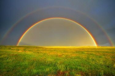 Double rainbow over meadow, Silt, Colorado  -  Robbie George/ NatGeo Image Col.