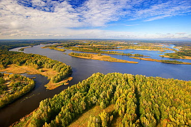Aerial view of Pripyat River within the 30 kilometer Chernobyl Exclusion Zone, Ukraine  -  James Christensen