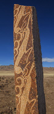 Bronze Age carvings in granite pillars called the Ushigiinor Deer Stones, Muren, Mongolia  -  Colin Monteath/ Hedgehog House