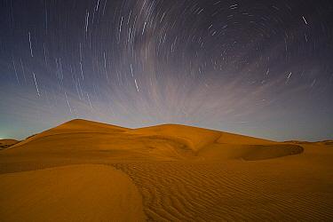 Star trails above red sand dune at night, Dorob National Park, Namib Desert, Namibia  -  Theo Allofs