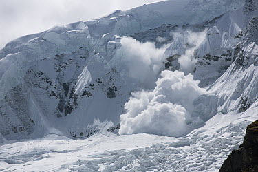 Avalanche rolling down mountain, Cordillera Blanca, Peru  -  Cyril Ruoso
