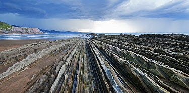 Coastal rocks and beach, Basque Country, Spain  -  Albert Lleal
