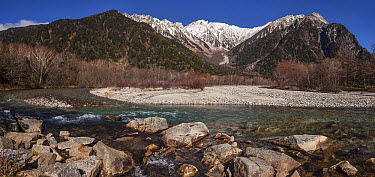River and mountains, Azusa-gawa River, Mount Oku-Hotaka, Northern Alps, Chubu-Sangaku National Park, Japan  -  Colin Monteath/ Hedgehog House