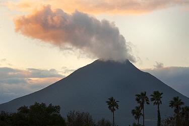Steaming volcano at sunset, Mount Kaimondake, Satsuma Peninsula, Kyushu, Japan  -  Kevin Schafer