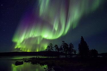 Lake and aurora borealis, Lake Inari, Lapland, Finland  -  Heike Odermatt
